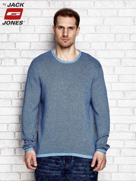 Niebieski sweter męski w melanżowy wzór