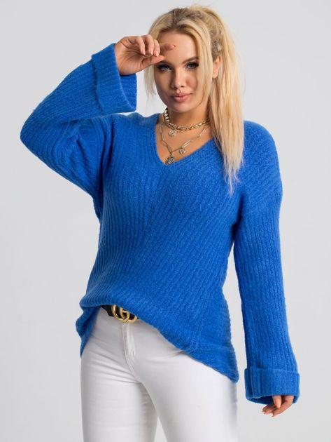 Niebieski sweter plus size Carla