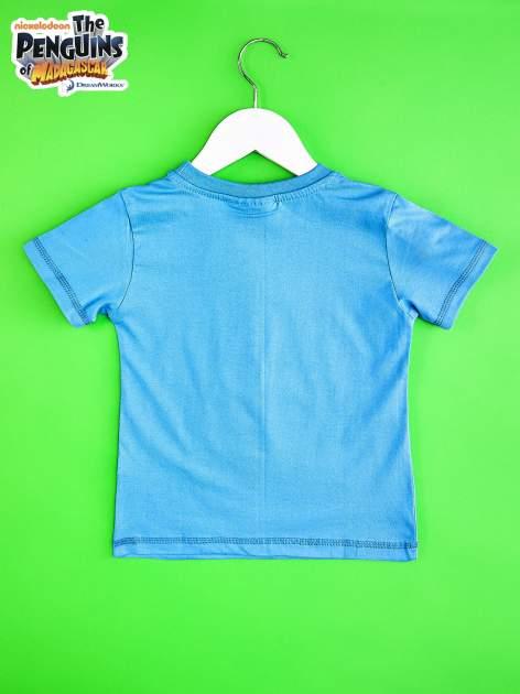 Niebieski t-shirt chłopięcy PINGWINY Z MADAGASKARU                                  zdj.                                  2