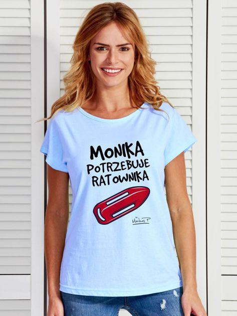 Niebieski t-shirt damski MONIKA POTRZEBUJE RATOWNIKA by Markus P                                  zdj.                                  1