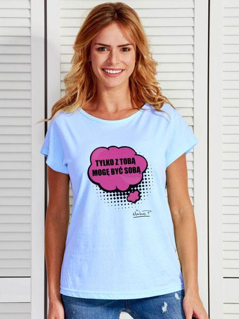 Niebieski t-shirt damski Z TOBĄ MOGĘ BYĆ SOBĄ by Markus P                                  zdj.                                  1
