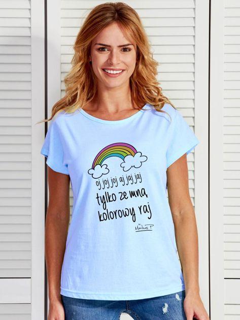 Niebieski t-shirt damski ZE MNĄ KOLOROWY RAJ by Markus P                                  zdj.                                  1