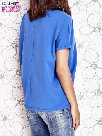 Niebieski t-shirt oversize                                  zdj.                                  5