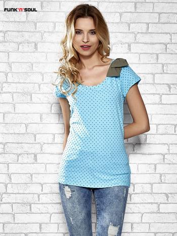 Niebieski t-shirt z kokardą na ramieniu Funk n Soul                                  zdj.                                  1
