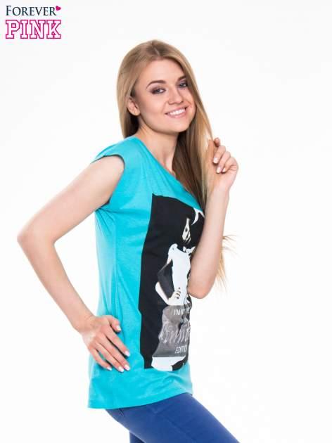 Niebieski t-shirt z nadrukiem I'M NOT PERFECT BUT I AM LIMITED EDITION                                  zdj.                                  2