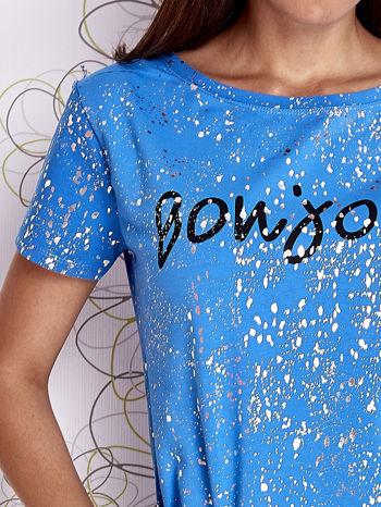 Niebieski t-shirt z napisem BONJOUR                                  zdj.                                  5