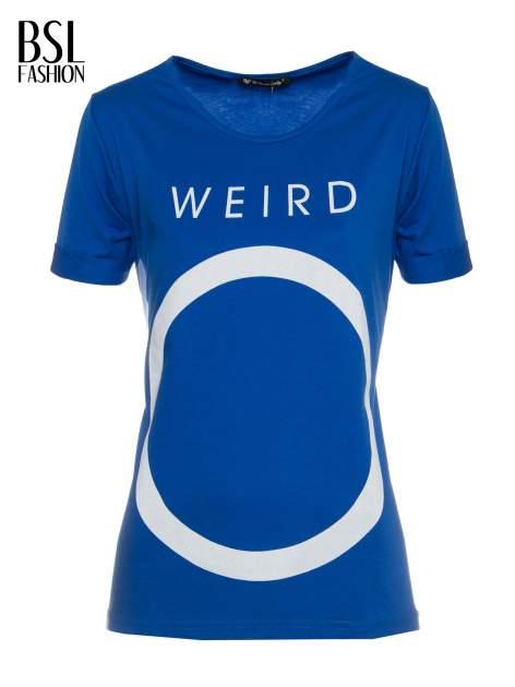 Niebieski t-shirt z napisem WEIRD                                  zdj.                                  2