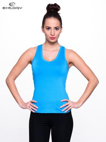 Niebieski top fitness z dekoltem V                                  zdj.                                  1