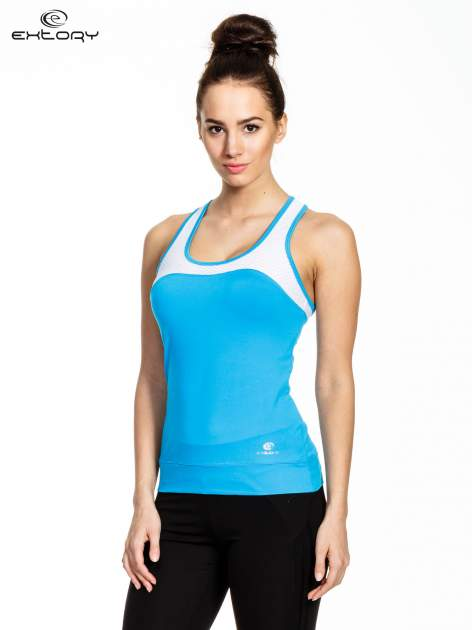 Niebieski top sportowy z siateczką i skrzyżowanymi ramiączkami                                  zdj.                                  1
