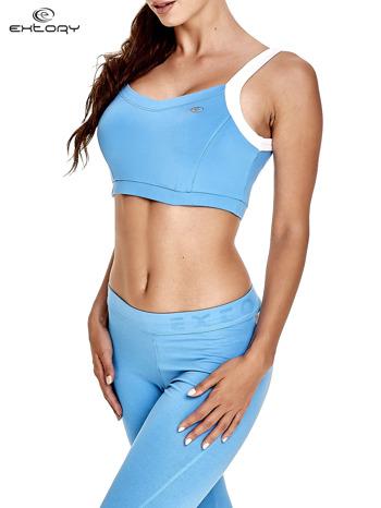 Niebieski top stanik sportowy na białych ramiączkach                                  zdj.                                  3