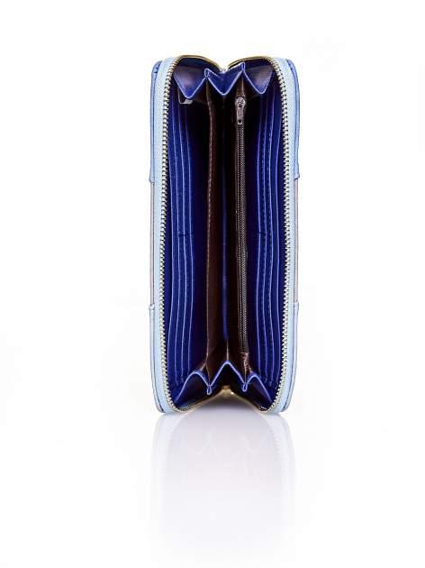 Niebieski trójkolorowy portfel z uchwytem                                  zdj.                                  3
