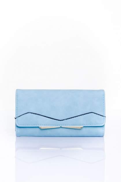 Niebieski zamszowy portfel z geometrycznym motywem