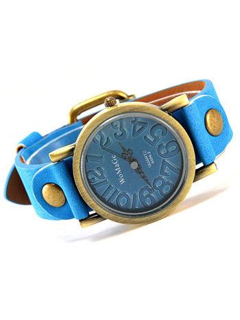 Niebieski zegarek damski na pasku z tarczą z miedzianego złota                                  zdj.                                  1