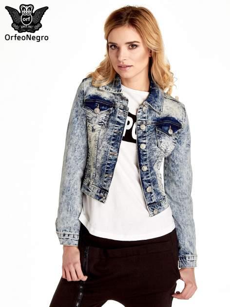 Niebieskia kurtka jeansowa damska marmurkowa z kieszeniami                                  zdj.                                  1