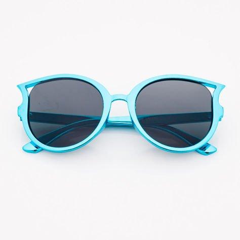 Niebieskie Dziecięce Okulary Słoneczne Z Metalicznym Połyskiem                              zdj.                              1