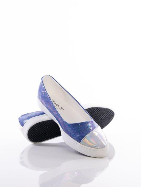 Niebieskie baleriny Vesuvio z tęczową poświatą i efektem skóry węża                              zdj.                              4