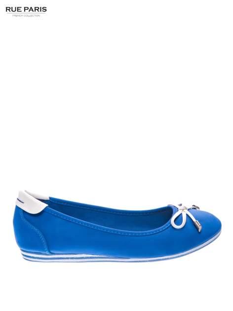 Niebieskie baleriny na niskim koturnie                                  zdj.                                  1