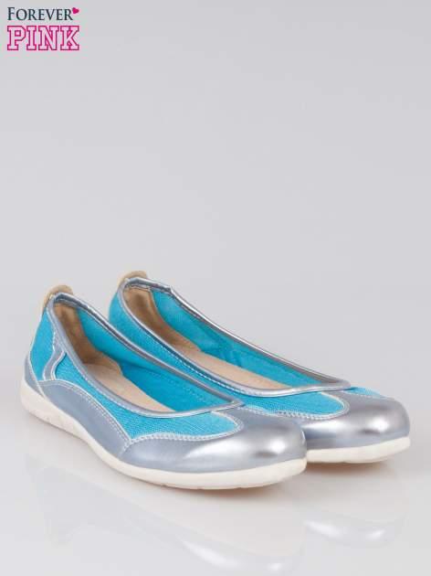 Niebieskie baleriny sport style z metalicznym wykończeniem                                  zdj.                                  2