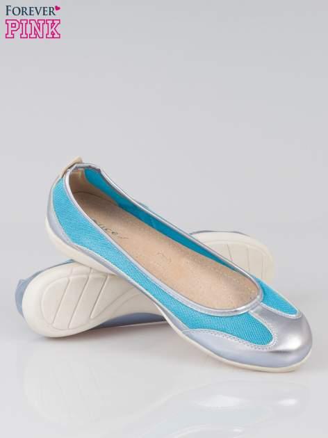 Niebieskie baleriny sport style z metalicznym wykończeniem                                  zdj.                                  4