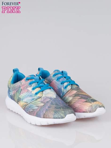 Niebieskie buty sportowe synthetic Palm Springs z motywem exotic print                                  zdj.                                  2