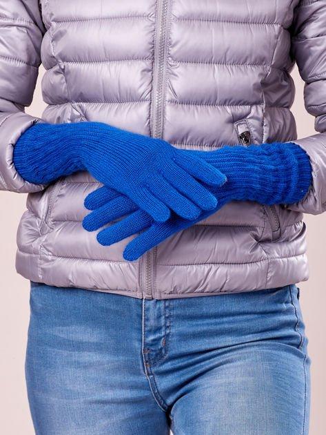 Niebieskie długie rękawiczki z drapowanym rękawem                                  zdj.                                  3