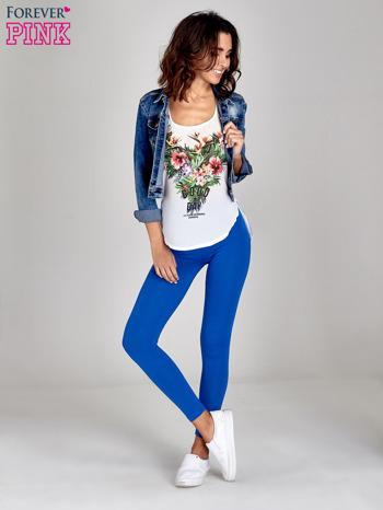 Niebieskie gładkie legginsy damskie basic                                  zdj.                                  2