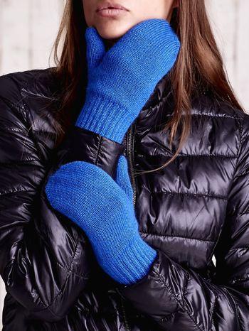 Niebieskie gładkie rękawiczki z jednym palcem                                  zdj.                                  2
