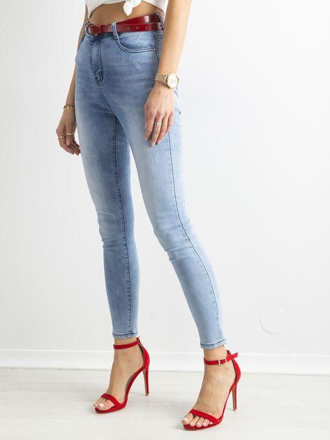 Niebieskie jasne jeansy rurki z wysokim stanem                              zdj.                              3