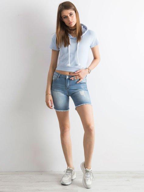 Niebieskie jeansowe bermudy                              zdj.                              4