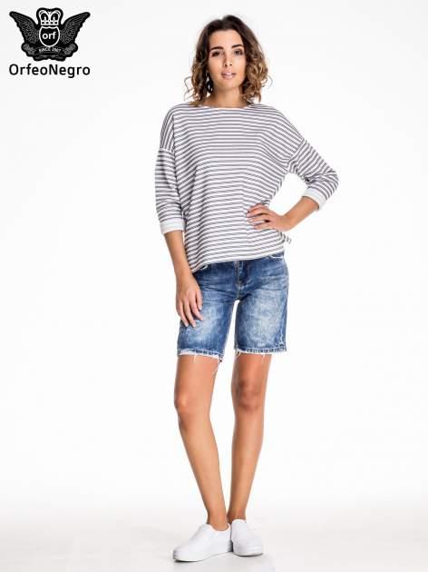 Niebieskie jeansowe szorty z dłuższą nogawką                                  zdj.                                  6