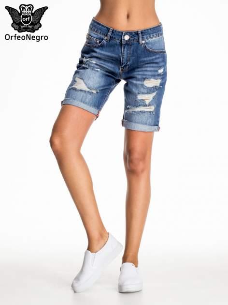 Niebieskie jeansowe szorty z podwijaną nogawką                                  zdj.                                  2