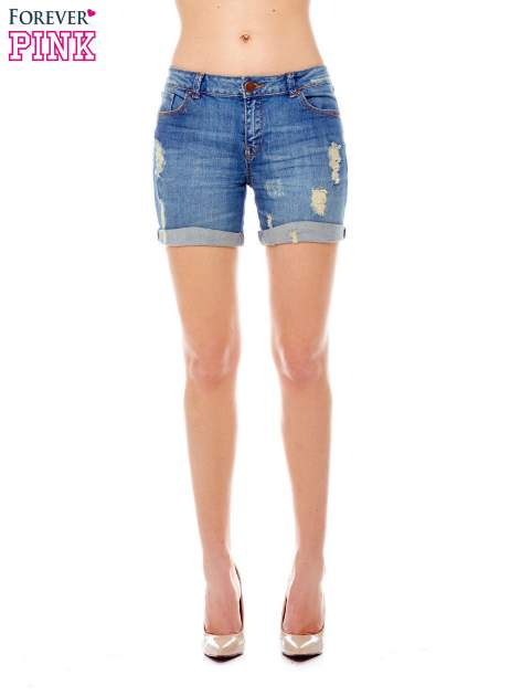 Niebieskie jeansowe szorty z podwijanymi nogawkami                                  zdj.                                  1