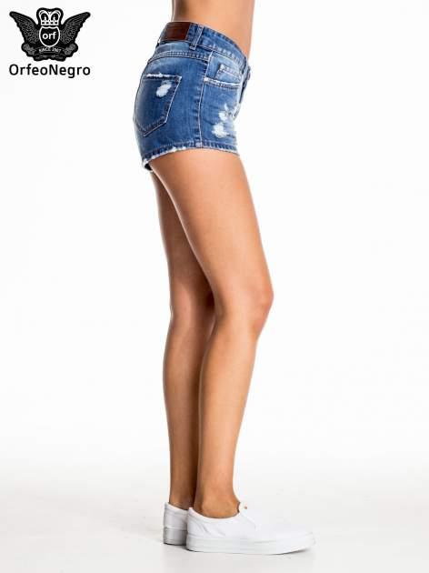 Niebieskie jeansowe szorty z przetarciem                                  zdj.                                  4