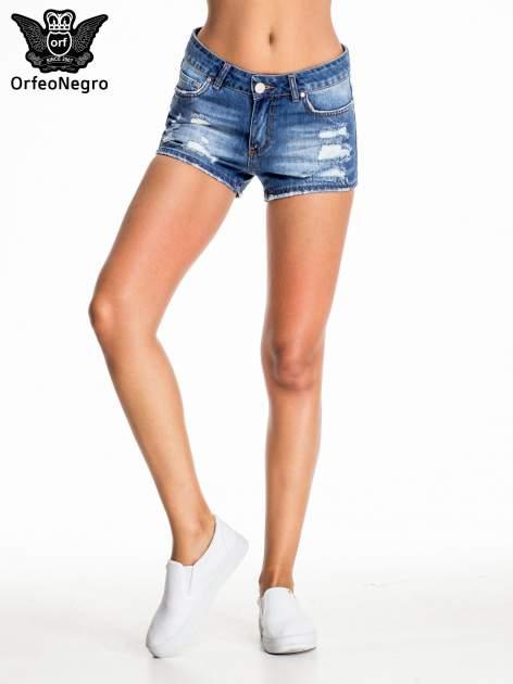 Niebieskie jeansowe szorty z przetarciem                                  zdj.                                  2
