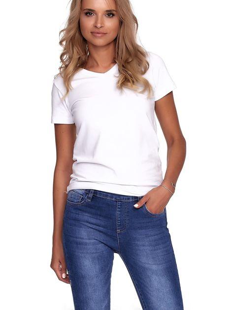 Niebieskie jeansy damskie slim fit z suwakiem z tyłu                              zdj.                              5