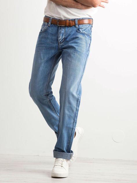 Niebieskie jeansy męskie regular fit                              zdj.                              3