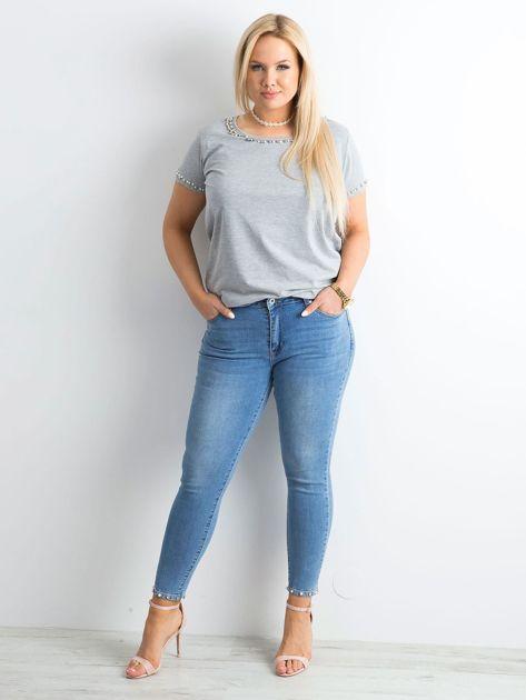Niebieskie jeansy z aplikacjami PLUS SIZE                              zdj.                              4