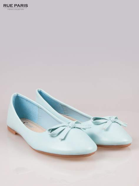 Niebieskie klasyczne balerinki z kokardką                                  zdj.                                  2