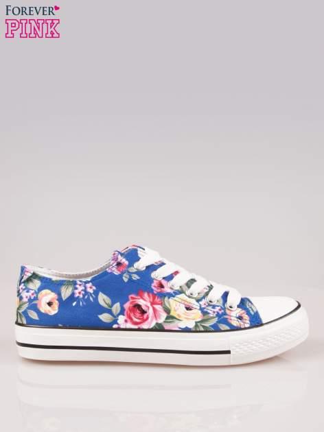 Niebieskie kwiatowe trampki damskie przed kostkę                                  zdj.                                  1