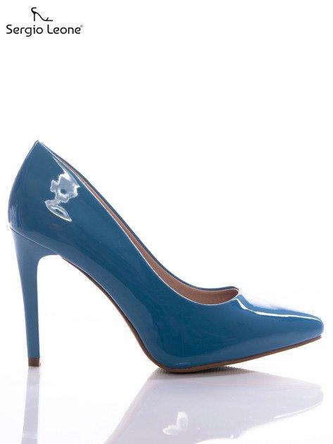Niebieskie lakierki Sergio Leone na cienkich szpilkach                              zdj.                              1