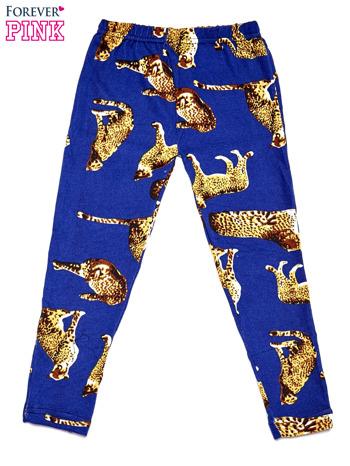 Niebieskie legginsy dziewczęce z nadrukiem gepardów