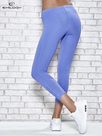 Niebieskie legginsy sportowe z dżetami na dole nogawki                                  zdj.                                  2
