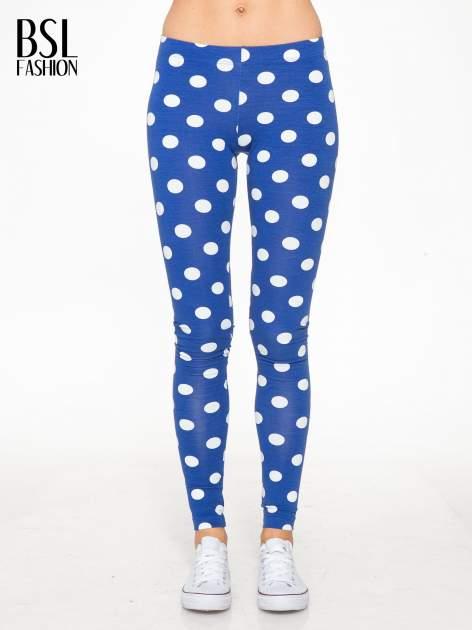 Niebieskie legginsy w grochy