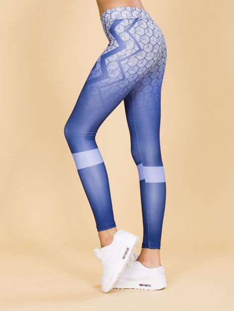 Niebieskie legginsy we wzory                              zdj.                              2