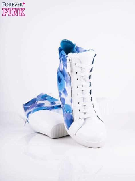 Niebieskie sneakersy kwiatowe z suwakami Floveria                                  zdj.                                  3