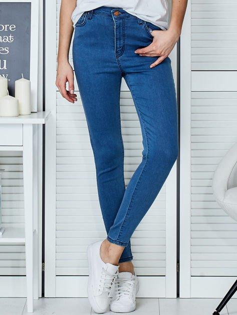 Niebieskie spodnie jeansowe skinny high waist                              zdj.                              1