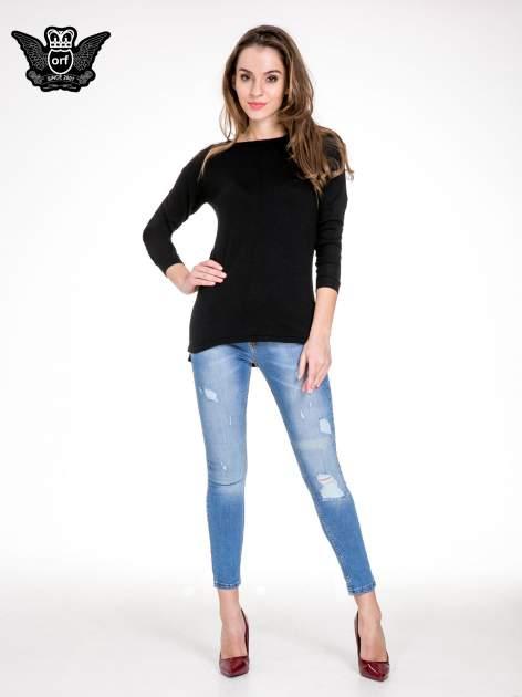 Niebieskie spodnie jeansowe z cieniowaną nogawką z przetarciami                                  zdj.                                  2