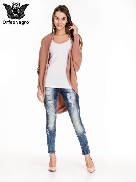 Niebieskie spodnie skinny jeans z rozdarciami i modelującym rozjaśnieniem                                  zdj.                                  2