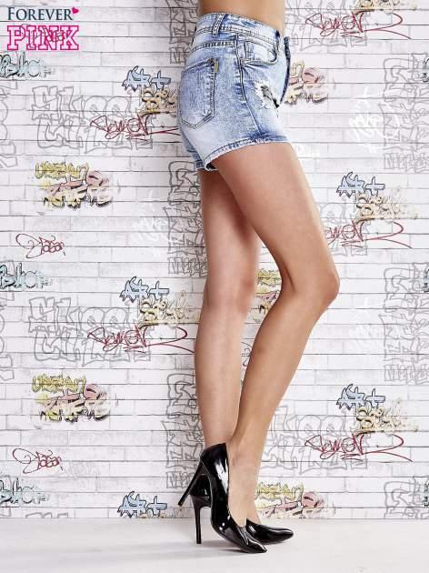 Niebieskie szorty jeansowe z wysokim stanem                                  zdj.                                  3