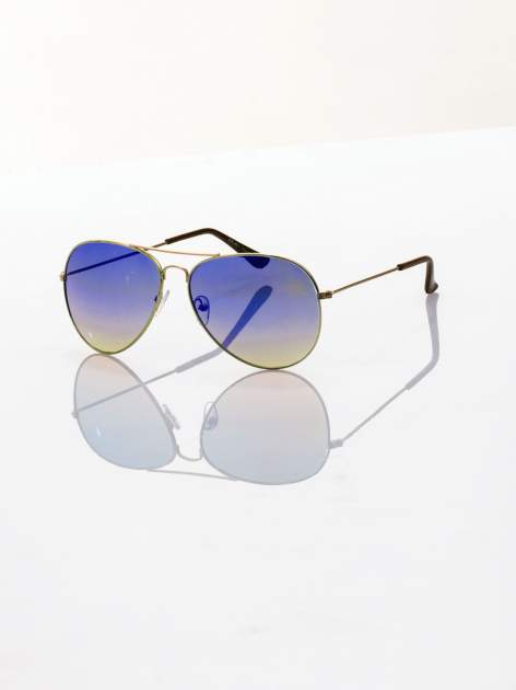 Niebieskio-złote okulary przeciwsłoneczne pilotki AVIATOR